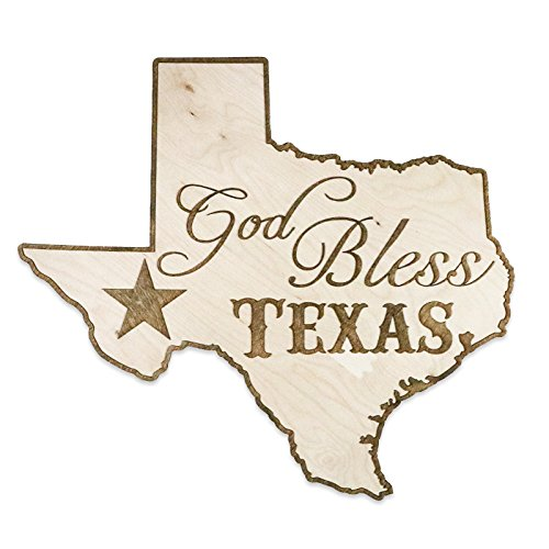 Country Rebel God Bless Texas Two-Tone Wood Home Decor Wooden Wall Art - Made of Baltic Birch - Veteran Hand Crafted - Rustic Interior Design (Garden Decor San Diego)