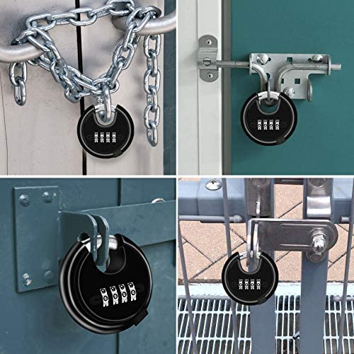 Combination Locks,4 Digit Combination Disc Padlock with Strengthen zinc Alloy Shackle Outdoor Combo Gate Lock for Sheds Storage Unit 1, Red Garage Fence,Trailer Tongue.