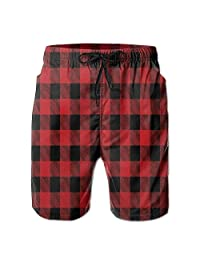 best bags Men's Beach Shorts Swim Trunks Buffalo Plaid Red Checkered Board Shorts with Pockets