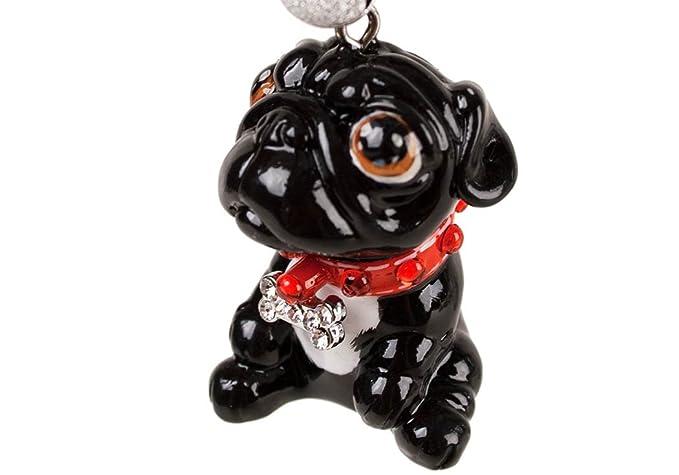 Amazon.com: Pug Mini Negro Hecho a mano llavero (4 cm x 3 cm ...