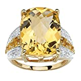 Checkerboard-Cut Genuine Citrine and White Topaz 14k Gold over .925 Silver Cocktail Ring