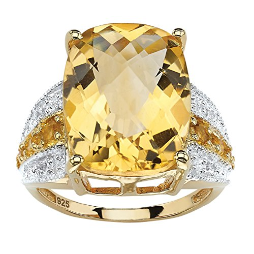 Checkerboard-Cut Genuine Citrine and White Topaz 14k Gold over .925 Silver Cocktail (Gold Citrine Cocktail)