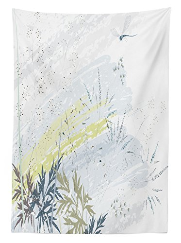 """Ambesonne Dragonfly Tablecloth, Wild Herb Grass Field Distressed Background with Dragonflies Lifestyle Graphic, Rectangular Table Cover for Dining Room Kitchen Decor, 60"""" X 90"""", Green Grey"""