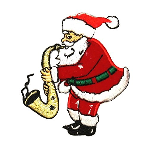 (ID 8034 Santa Playing Saxophone Patch Christmas Tune Embroidered IronOn Applique)