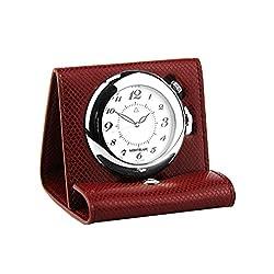 MONTBLANC BOHEME RED LEATHER TRAVEL ALARM CLOCK WATCH SWISS 35775 NEW SWISS
