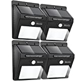 Baxia Outdoor Waterproof Motion Sensor Solar Bright Security Lights - 12 LEDs Wireless for Wall (4-pack)