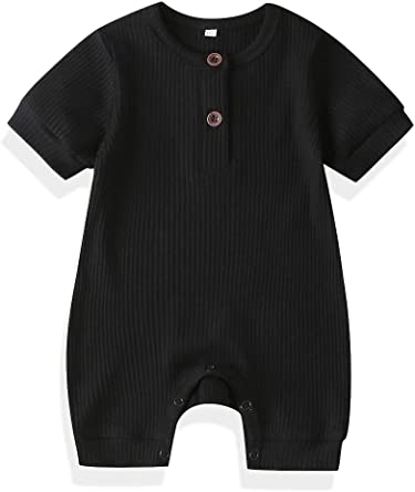 Yoawdats Baby Boy Ribbed Romper Short Sleeve Button Down One Piece Romper Jumpsuit