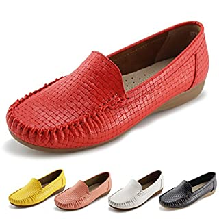 Women's Slip-on Loafers Flat Casual Driving Shoes(9, Red)