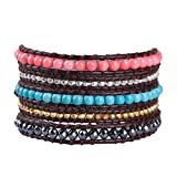 KELITCH Crystal on Gray Leather Charm 5 Wrap Bracelet Handmade New Top Jewelry48