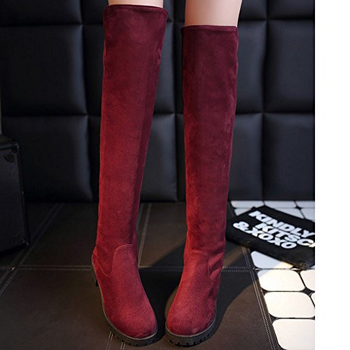 Sole Red Thick Pull Boots On KemeKiss Women wvR4q7wFH