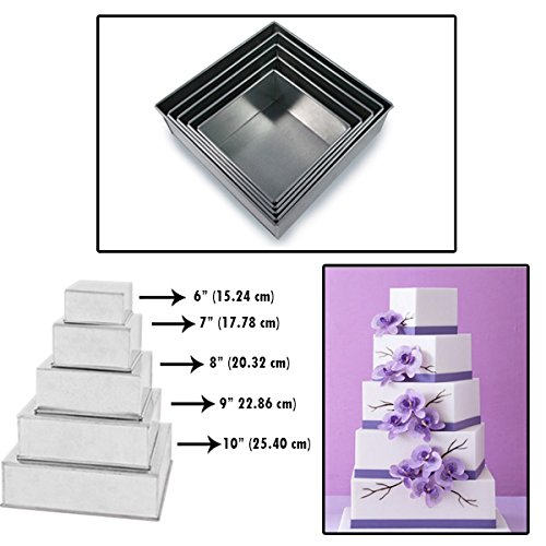 Set of 5 Tier Square Multilayer Birthday Wedding Anniversary Cake Tins/Pans / Mould by Protins by Protins