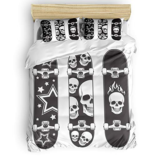 Kids Bedding Set Soft Duvet Cover Set for Boys Girls,Black and White Skateboard Skulls Breathable and Lightweight Bed Sheet Sets,4 Pieces Include 1 Flat Sheet 1 Duvet Cover and 2 Pillow Cases Full (Skateboard Bed Sheets)
