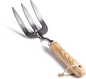 Stainless Steel Hand Fork with Ergonomic Handle,Cultivator Gardening Tools,Polishing Durable,Easy to Clean
