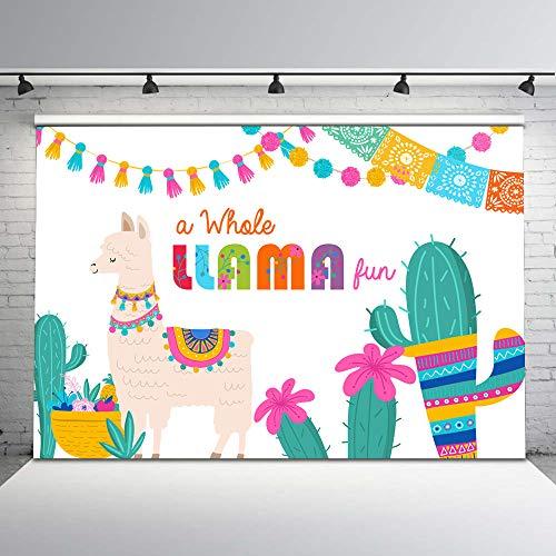 Mehofoto Fiesta Llama Backdrop A Whole Llama Fun Birthday Backdrops Llama Party Cactus Below Mexican Theme Background for Birthday Baby Shower Decorations Supplies 7x5