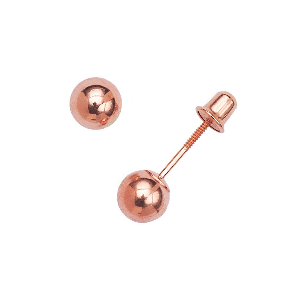 Solid 14k Rose Gold 3-8mm Ball Screw-back Earrings (3 millimeter)