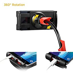EasyAcc Nintendo Switch Stand GooseneckCellphone Holder iPad Stand Tablet Mount,1M Long Bolt Clamp with Bracket for Android or Apple Devices 4-10.6 Inches 360 Degree Rotating Flexible Arm (Black Red)