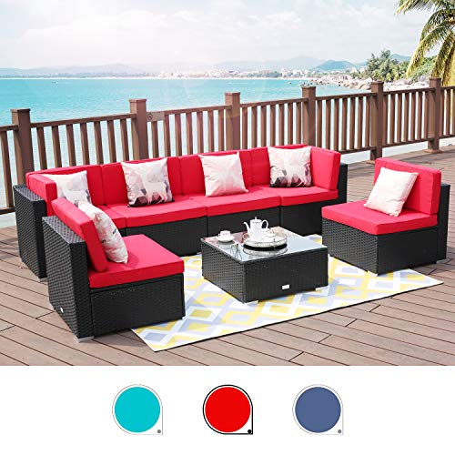 LUCKWIND Patio Conversation Sectional Sofa Chair – 7-Piece Set All-Weather Black Checkered Wicker Rattan Seating Red Cushion Patio Ottoman Modern Glass Coffee Table Outdoor Accend Pillow 300lbs