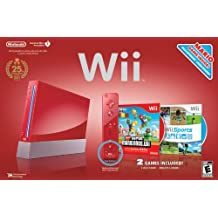 Red Wii Console with Wii Sports and Super Mario Bros