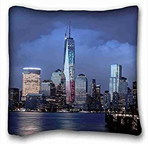 Generic Personalized City Custom Cotton & Polyester Soft Rectangle Pillow Case Cover 16x16 inches (One Side) suitable for King-bed