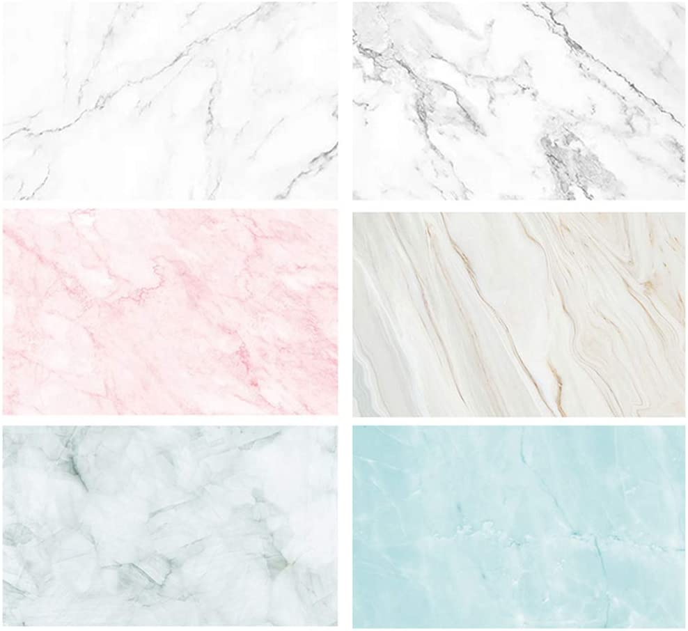 Bcolor Flat Lay Backdrops Marble Photography Backgrounds Paper 3 Pack Kit 22x34Inch/ 56x87cm Double Sided Photo Props Rolls for Food Product Jewelry Tabletop Blog Pictures, 6 Pattern…