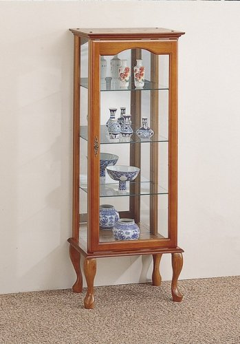 Queen Anne Style Oak Finish Wood Curio China Cabinet W/Mirror Back