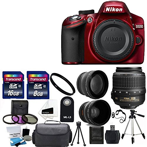 Nikon D3200 24.2 MP CMOS Digital SLR Camera (Red) with 18-55mm VR II Zoom Lens + 2x Professional Lens +HD Wide Angle Lens + UV Filter Kit with 24GB Deluxe Accessory Bundle (Certified Refurbished)