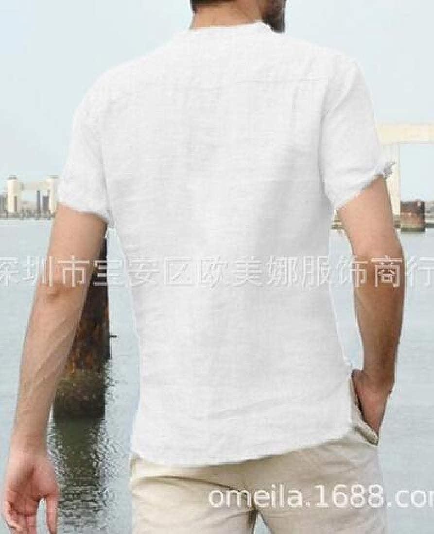 Suncolor8 Men Stand Collar Solid Summer Cotton Linen Short Sleeve Dress Henley Shirts