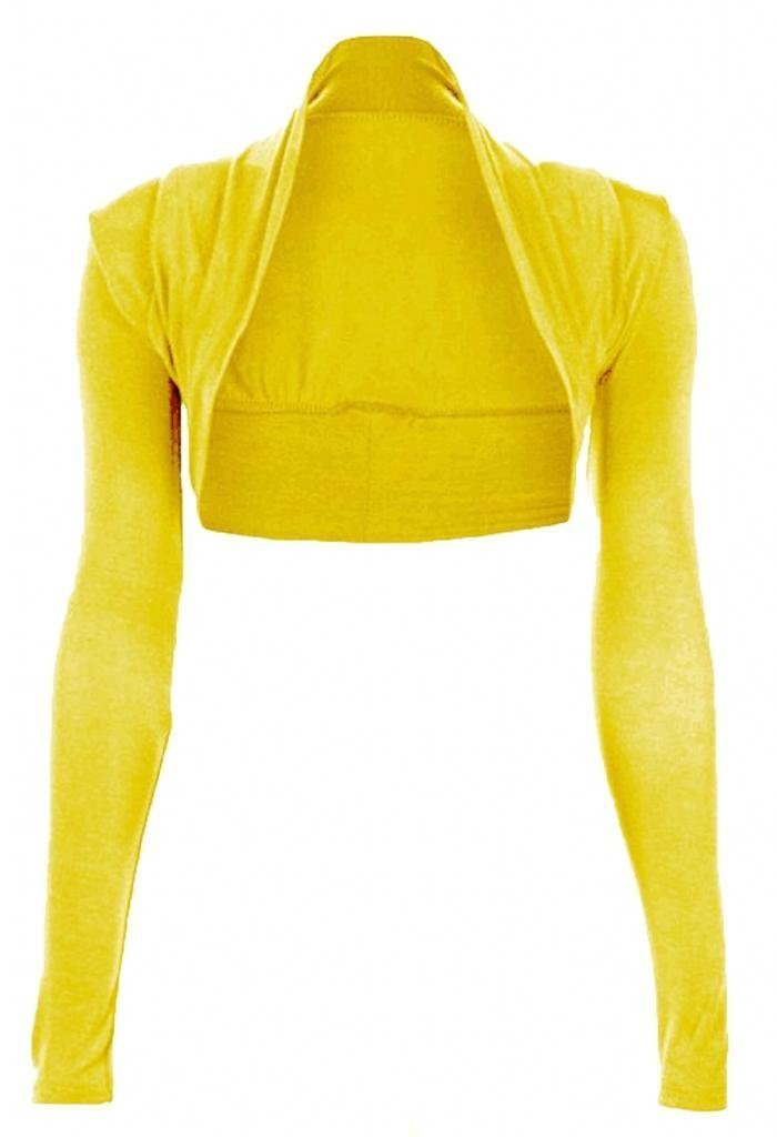 Womens Long Sleeve Bolero Shrug CardiganSweater Top Yellow