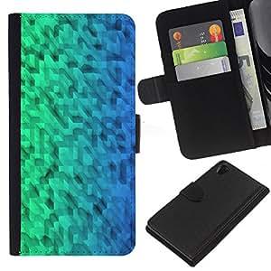 KingStore / Leather Etui en cuir / Sony Xperia Z2 D6502 / Patrón Verde Azul Uniforme