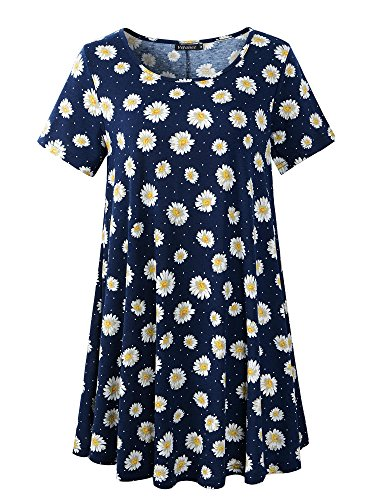 Veranee Women's Plus Size Swing Tunic Top Short Sleeve Floral Flare T-Shirt (XX-Large, ()