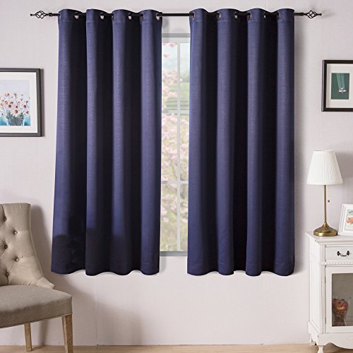 Valea Home Room Darkening Curtains Window Panel Drapes, 52 by 63 inch,Blue Navy, 2 Panels