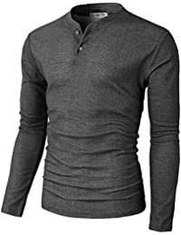 Men's Slim Fit Long Sleeve Plain Cotton Casual Henley Neck T-Shirts