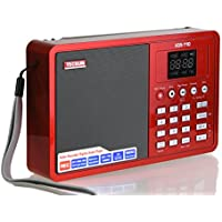 Tecsun ICR-110 4-in-1 Digital Portable AM/FM Radio + MP3 Player + Desktop / Laptop Computer USB Speaker + Digital Recorder, Color Red (English Version)