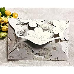 DriewWedding 20 pcs Laser Cut Wedding Invitations, White Invitation Cards Hollow Lily Pattern,Perfect for Bridal Baby Shower,Quinceanera,Christmas, Birthday Party with Envelope & Ribbons