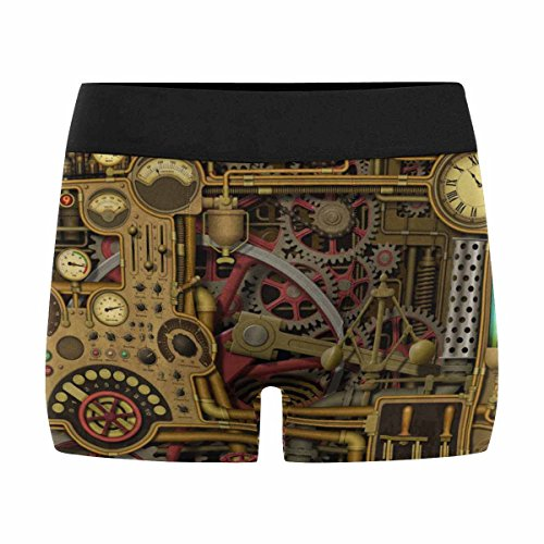 INTERESTPRINT Custom Men's Boxer Briefs Steampunk Background with Clocks, Dials, Gears and Cogs, Pipes and Switches XL