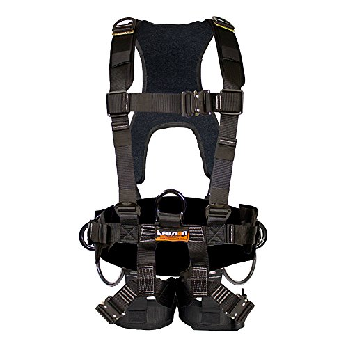 Fusion Climb Tac-Scape Heavy Duty Tactical Full Body Padded H Style Rescue Harness, Small Medium, Black Gray