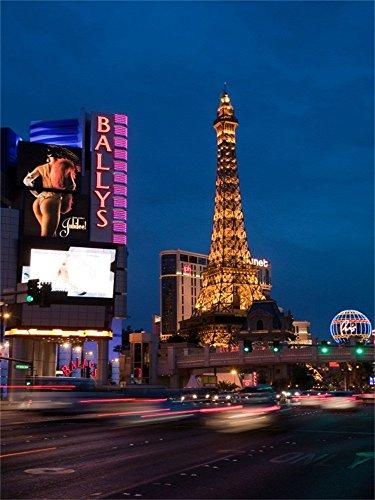 Laeacco 4X5FT Vinyl Photography Background LAS VEGAS Traffic Along Las Vegas Strip Luxury Hotel Rooms Tower City Night View Backdrop Christmas Personal Portraits Children Shooting Video Studio Prop