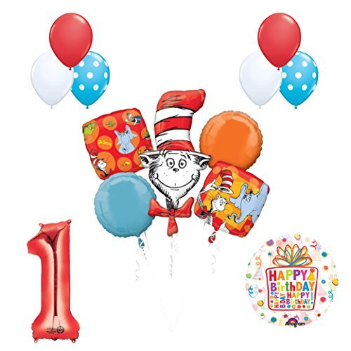 13 pc Dr Seuss Cat in the Hat 1st Birthday Party Balloon Supplies and Decorations (Cat In The Hat 1st Birthday)