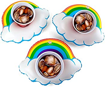 3-Pk. Inflatable Happy Rainbow Drink Float