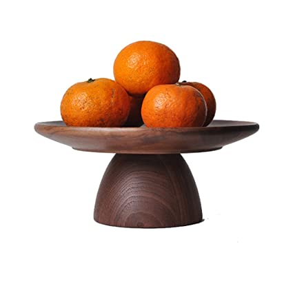 Plato de fruta placa de pastel de madera de nogal negro alto Bandeja simple de estilo