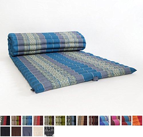 Leewadee Roll Up Thai Mattress, 79x30x2 inches, Kapok Fabric, Blue, Premium Double Stitched