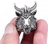 SUNSCSC Vintage Satan Worship Baphomet Ram Aries Zodiac Sheep Goat Head Horn Biker Ring (9)
