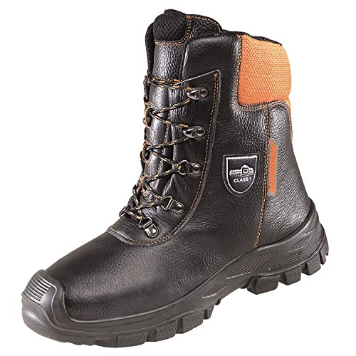 Lupriflex 1 Paar Eco-Hunter Basic durchtrittsicherer Sicherheitsstiefel mit Schutz gegen Kettensägenschnitte, S1, Schuhweite 12 Orange/Schwarz Größe 39-50