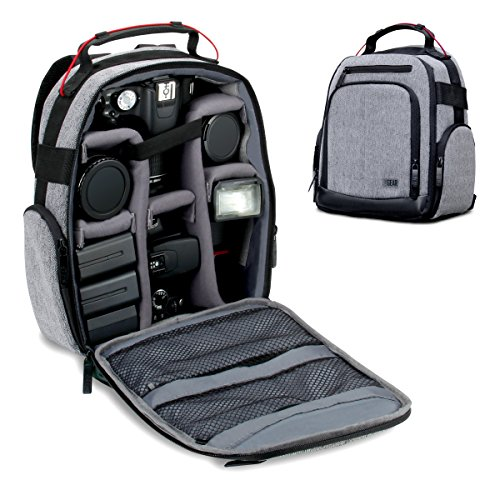 Nikon Camera Backpacks - USA GEAR Portable Camera Backpack for DSLR/SLR (Gray) w/ Customizable Accessory Dividers, Weather Resistant Bottom, Comfortable Back Support - Compatible w/Canon EOS T5/T6 - Nikon D3300/D3400 & More