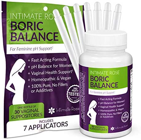 Boric Acid Suppositories - pH Balance for Women - Vaginal Suppository to Promote Vaginal Health - 30 Day Supply + 7 Free Applicators