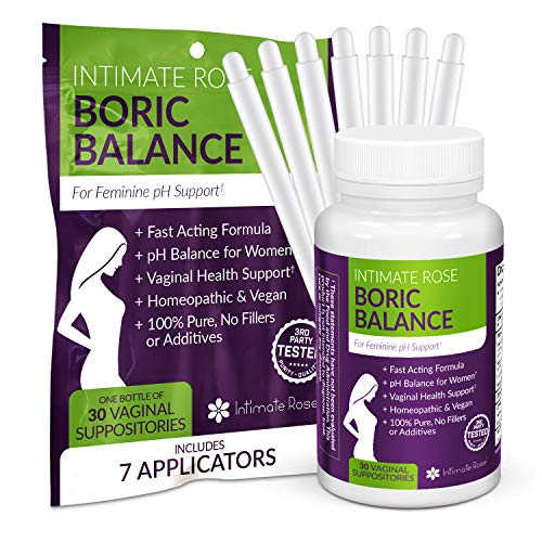 Boric Acid Suppositories - pH Balance for Women - Vaginal Suppository to Promote Vaginal Health - 30 Day Supply + 7 Free Applicators (Best Antibiotic For Yeast Infection)