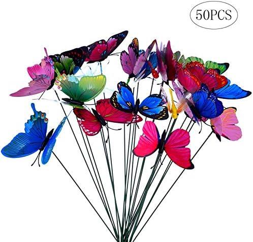 Wankd Mariposa De Jardín,50PCS Adornos de jardín Mariposas de Colores Mariposas en Palos Doble Capa Alas de Mariposa Decoraciones Estacas de Mariposas para el jardín Plantar macetas decoración: Amazon.es: Jardín