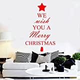 """We Wish You A Merry Christmas Vinyl Wall Art Decal - 34.5"""" x 23.5"""" Decoration Vinyl Sticker - Red"""