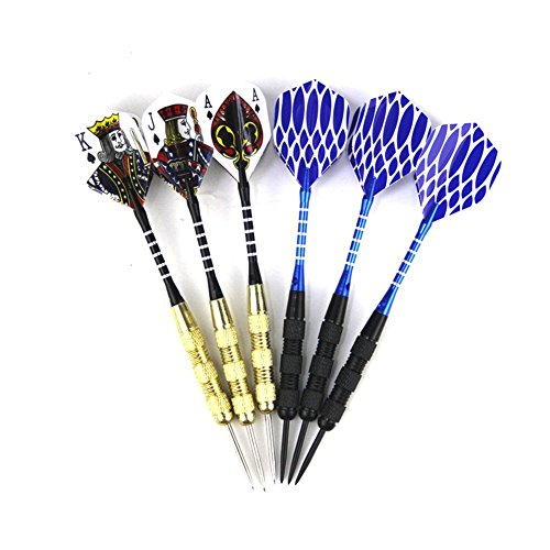 ShuGuan Pokers Darts Steel Tip Darts Set (6-PCS) - Professional or Beginner Throwing by ShuGuan