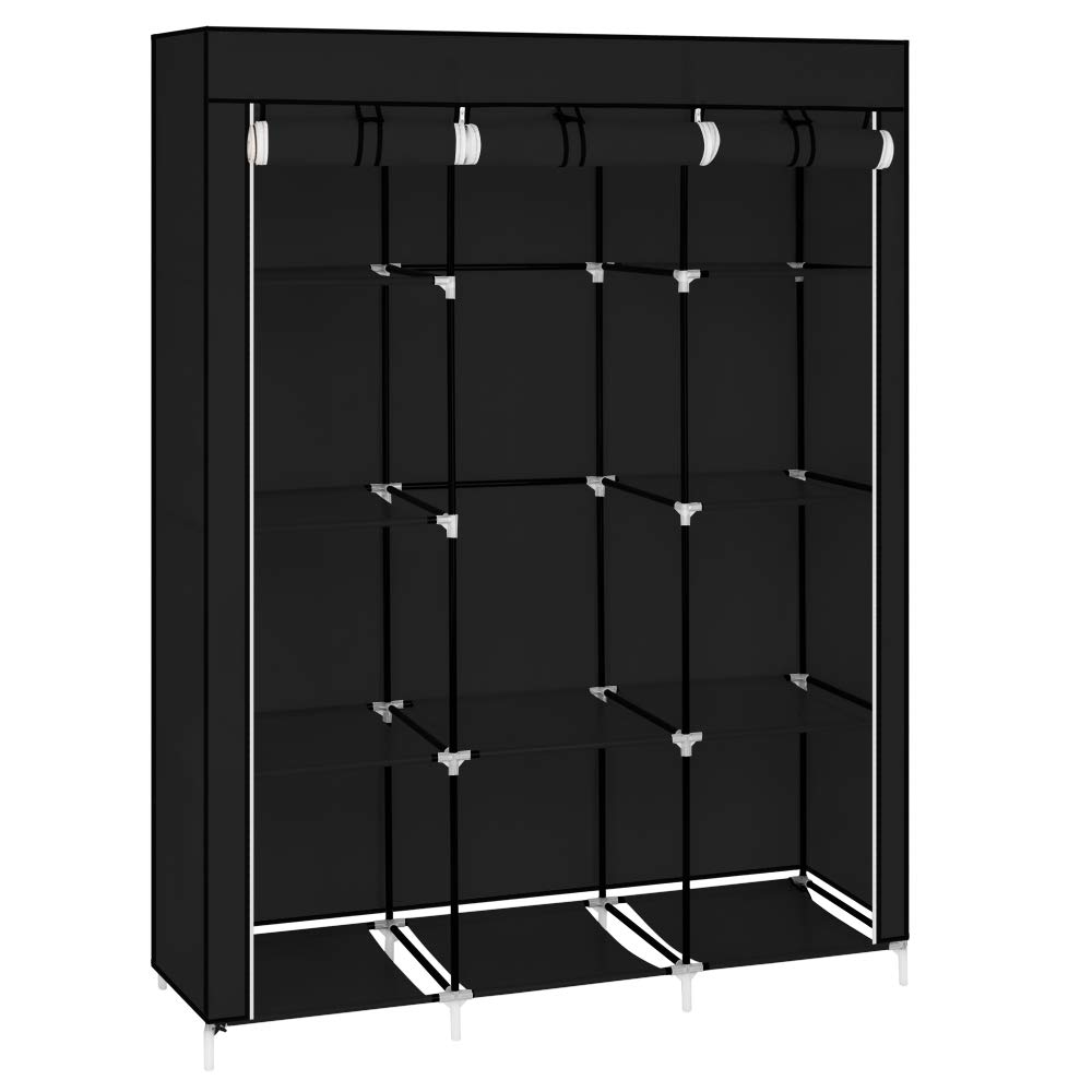 MOONBUY 50'' Closet Organizer, Portable Bedroom Clothes Storage Closet Shelf Dustproof Fabric Wardrobe, Black